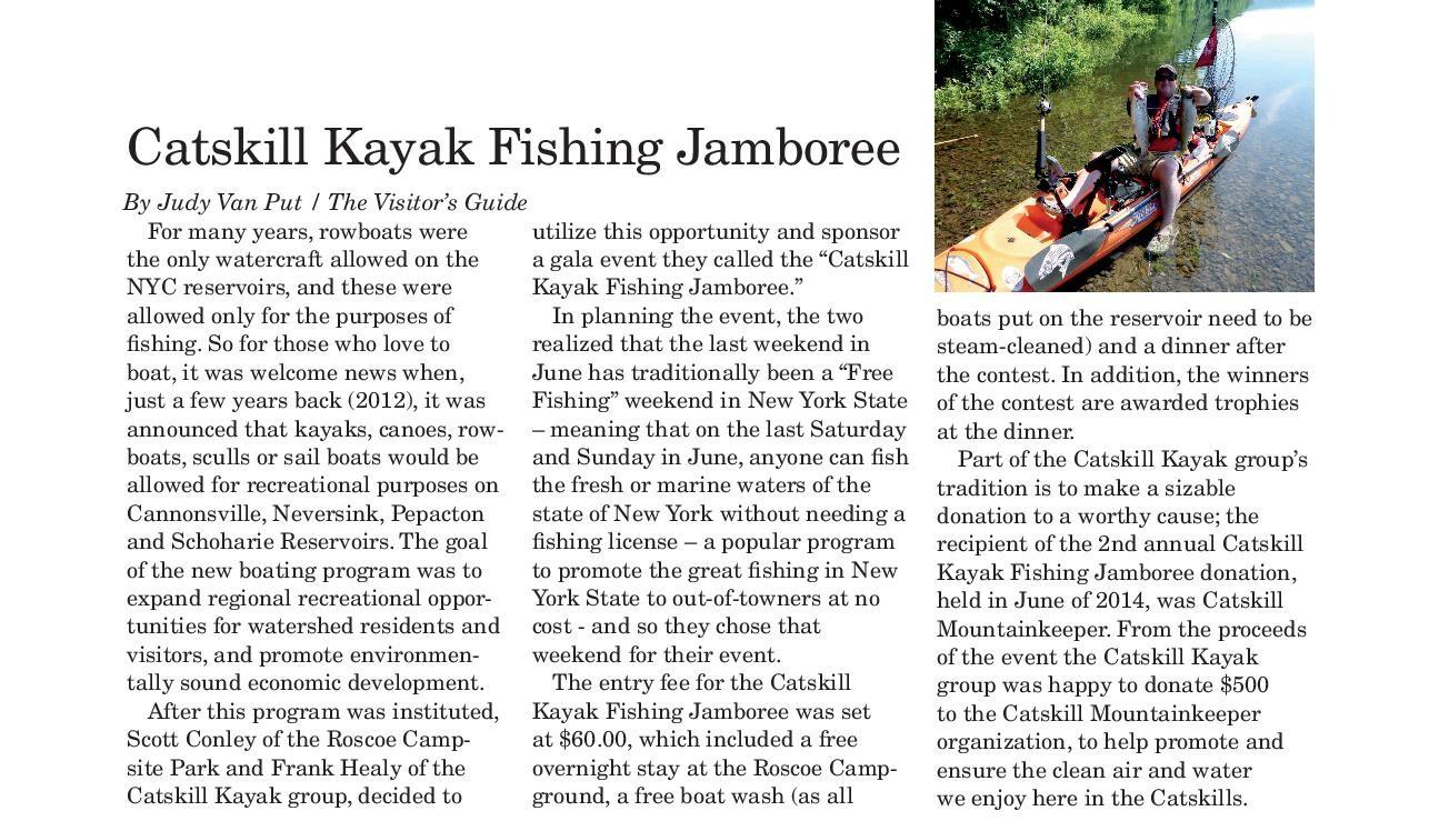 Press article about the Catskill Kayak Fishing Jamboree